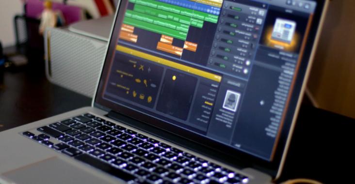 macbook gris écran garageband création de musique